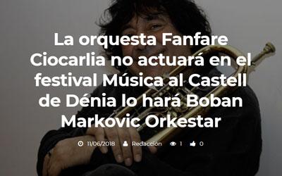 La orquesta Fanfare Ciocarlia no actuará en el festival Música…